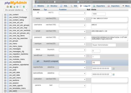 Joomla! 1.5 create new admin user via MySQL and phpMyAdmin step 1