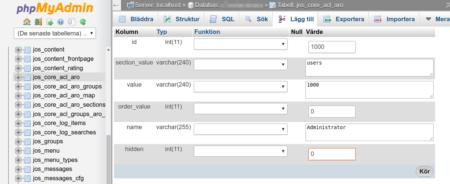 Joomla! 1.5 create new admin user via MySQL and phpMyAdmin step 2
