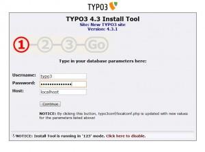 TYPO3 installation step 1